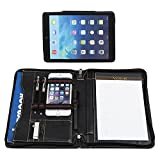 Hifriend Leather Portfolio with Detachable iPad Stand Case, Professional Padfolio Document Holder Business Organizer, with Junior Legal Size Writing Pad, for iPad Pro 10.5, Black