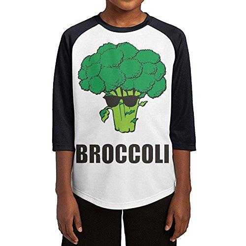 Paplo Child Cool Broccoli 3/4 Sleeve Baseball Raglan 100% Cotton Tee Shirt Size L