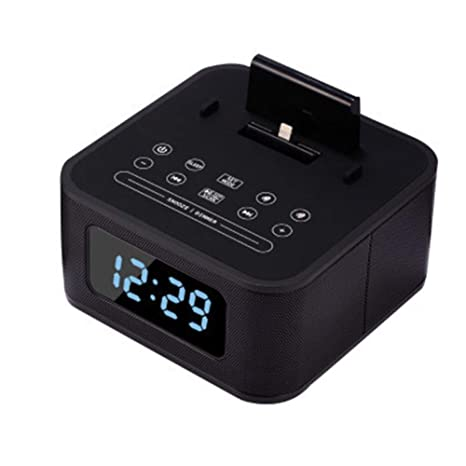 V.JUST Altavoz Bluetooth Led Reloj Despertador con Radio FM Reloj Digital Carga por USB
