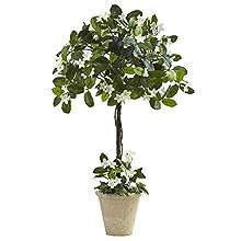 Nearly Natural Stephanotis Topiary with Planter, 3'
