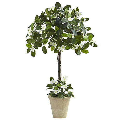 Nearly Natural Stephanotis Topiary with Planter, 3′