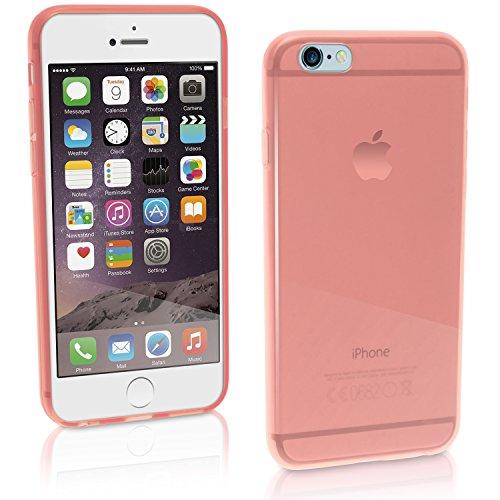igadgitz Transparent Pfirsich Glänzend Etui Tasche Hülle Gel TPU für Apple iPhone 6 & 6S 4.7 Zoll Case Cover + Displayschutzfolie