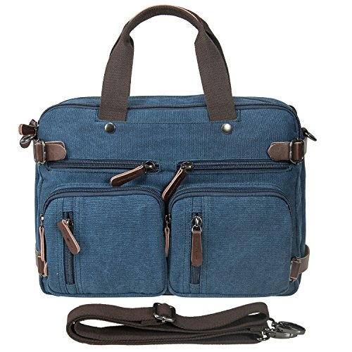 (Riavika Oversized Laptop Backpack Briefcase Convertible Messenger Bag Travel Backpack Daypack Rucksack for 15.6-17 Inch)