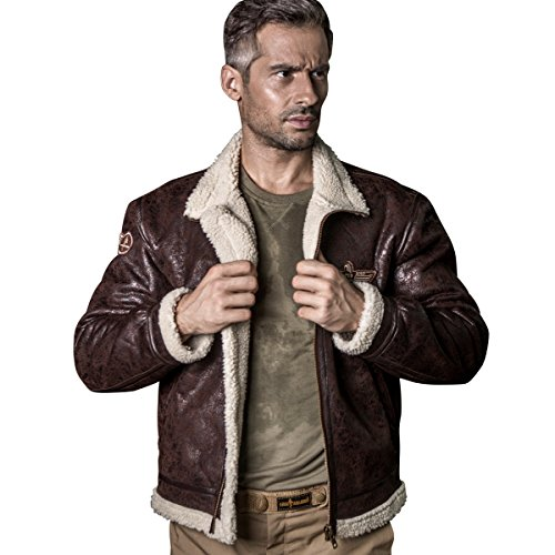FREE SOLDIER Men Classic Bomber Jacket Autumn Winter Tactical Pilot Jacket(Brown S)