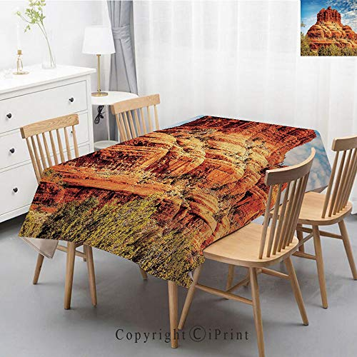 (Print Series Rectangle Tablecloth Cotton and Linen Dust proof Absorption Table Cover for Photography Background Dining,40x60 Inch,Western,Famous Bell Rock and Courthouse Butte in Sedona Arizona USA Na )