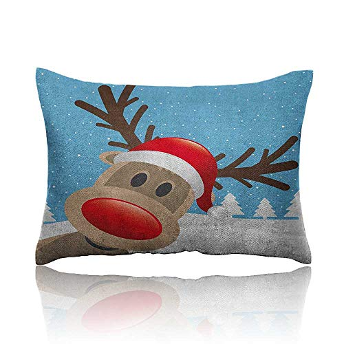 Anyangeight Christmas Cars Pillowcase Reindeer Rudolph with Red Nose and Santa Claus Hat Snowy Forest Youth Pillowcase 13