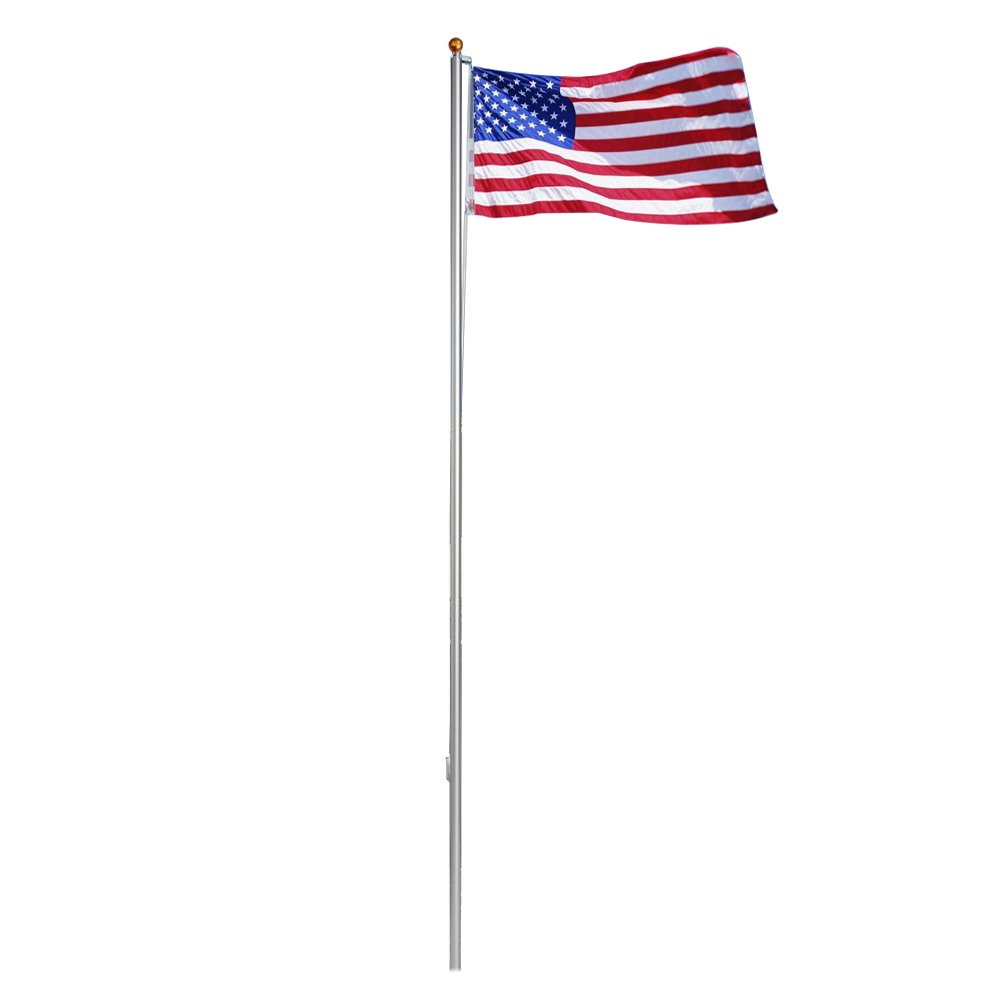 ZENY 25FT Sectional Flag Pole 3'x5' American Flag & Ball Top Kit Hardware Outdoor Garden Halyard Pole Inground Flagpole (25FT)