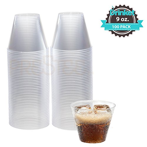 DRINKET 9-Oz Clear Plastic Cups Old Fashioned 9-Oz Clear Plastic Tumblers 100 Ct. Disposable Cups Reusable Cups Clear Heavy Duty Hard Plastic Party Cups Round Drinking Water (Plastic Party Tumblers)