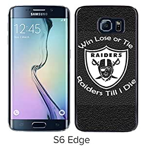 Oakland Raiders Black Samsung Galaxy S6 Edge Screen Cover Case Luxurious and Fashion Design