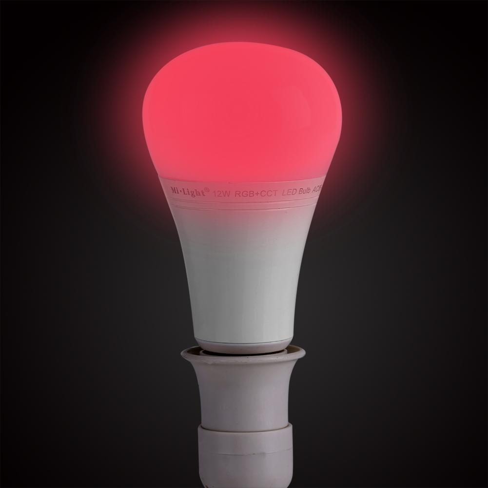 Fdit Mi.Light 12W RGBW Smart WiFi LED Lampadina E27 RGB CCT Cambia Colore Colore Temperatura Lavorabile con Mi.Light Telecomando//Smartphone App Controllo Via Mi.Light WiFi iBox