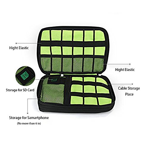 YC Choice Cable Organizer Bag, Universal Double Layer Travel USB Storage Bag Electronics Accessories Travel Organizer Bag for iPad, USB,Flash Drive,Phone,Charger,Power Bank by YC Choice (Image #3)
