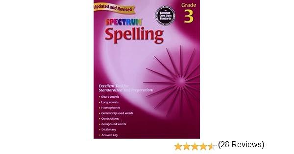 Amazon.com: Spectrum Spelling, Grade 3 (0087577929637): School ...