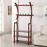 HOMEE European Creative Multi-Purpose Floor Solid Wood Coat Racks Living Room Combination Shoe Rack Bedroom Vertical Hangers (3 Colors Available),#2