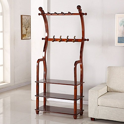 HOMEE European Creative Multi-Purpose Floor Solid Wood Coat Racks Living Room Combination Shoe Rack Bedroom Vertical Hangers (3 Colors Available),#2 by HOMEE