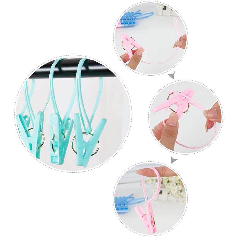 20 Pcs Travel Hangers with 12 Clips Portable Folding Clothes Hangers Travel Accessories Foldable Clothes Drying Rack for Travel