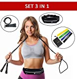 Sportlian Running Belt - Jump Rope - Resistance Bands - Set 3 in 1 for Men Women (Black)