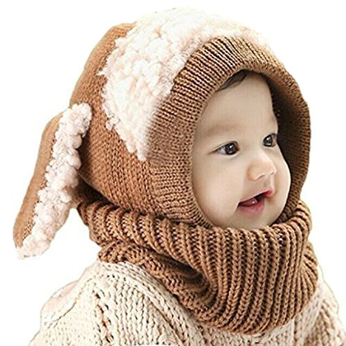 Tusong Unisex Baby toddle Kids Winter Hat Scarf Earflap Hood Scarves Skull Caps (Brown) - Baby Girl Dog Costume