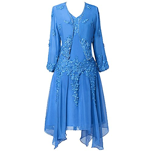 Blau Kleid mit Spitze der Jacke Chiffon Frauen Applique HWAN Braut R¨¹schen Mutter 86qCfxPw