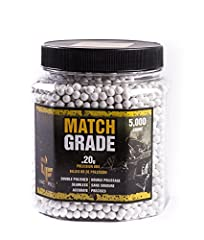 Crosman Match Grade Precision Airsoft BBs .20 grams 5,000 count. The Crosman Airsoft 5,000 ct. Bottle White Heavy Airsoft BBs are useful to have on hand during a marathon target practice session. This bulk container comes with 5,000 Airsoft B...