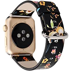 TCSHOW For Apple Watch Band 38mm,38mm Soft PU Leather Pastoral/Rural Style Replacement Strap Wrist Band with Silver Metal Adapter for Apple Watch Series 3 Series 2 and Series 1 (Z5)
