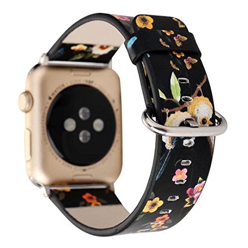 Designer Canvas and Leather Apple Watch Replacement Band for Women by Pantheon for the 38mm or 42mm, fits Apple iWatch 3, 2, 1 and Nike Edition (Leather Silver Canvas)