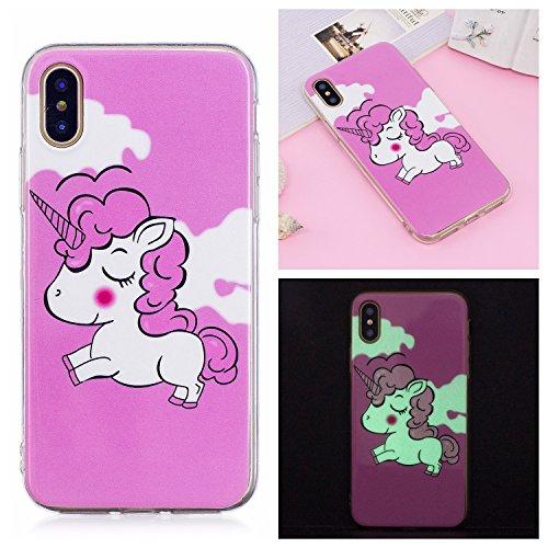 (MerKuyom [Night Luminous] [Slim-Fit] Flexible Gel Soft Rubber TPU Cover Skin Case + Stylus (Pink Miss Sheep, For iPhone X))