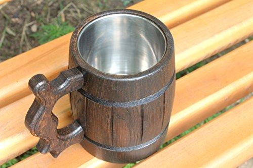 Wooden Beer Mug Eco-Friendly 20oz 0.6L Stainless Steel Cup Men Brown Wood Tankard Wedding Gift Beer Mug by WorldMaker | Exclusive Handmade goods (Image #2)