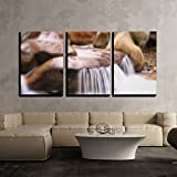 """wall26 - 3 Piece Canvas Wall Art - the Natural Waterfalls, Rock Pools and Cascades of Restonica Valley near Corte in Corsica - Modern Home Decor Stretched and Framed Ready to Hang - 24""""x36""""x3 Panels"""