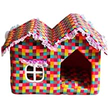 Colorful grid Canvas Large Inner Room Small Dog Bed Igloo Pet House Cat Puppy Bed Kennel Cushion