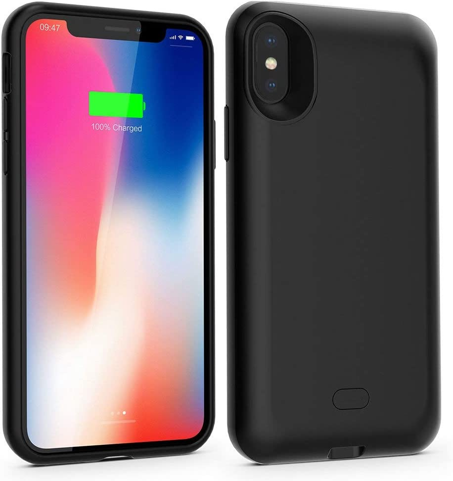 Battery Case for iPhone X/XS,3000mAh Qi Wireless Charger Case Portable Protective Charging Rechargeable Extended Pack Protective Backup Cover for iPhoneX/XS/10 Black