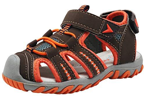 Apakowa Kid's Boy's Soft Sole Close Toe Sport Beach Sandals (Toddler/Little Kid) (Color : Orange, Size : 6 M US Toddler)