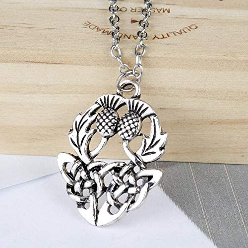 (Dungkey Norse Viking Jewelry Scotland National Symbol Scottish Thistle Flower Pendant Silver-Color Celtics Knot Necklace)