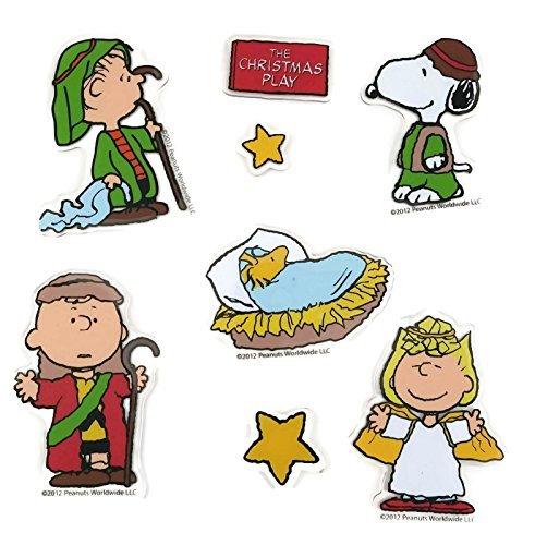 Peanuts Christmas Play Nativity Scene Window Clings (1 Sheet, 8 Clings)