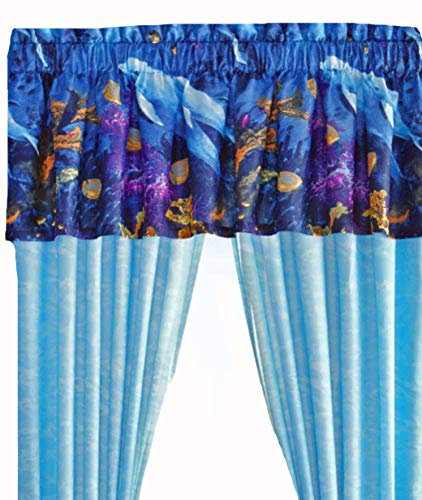 Tropical Living Dolphins Cove Sea Life Blue Window Treatment Valance (ONLY) 18