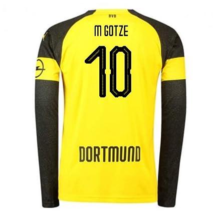 new style 3836e be3a4 Amazon.com : 2018-2019 Borussia Dortmund Home Long Sleeve ...