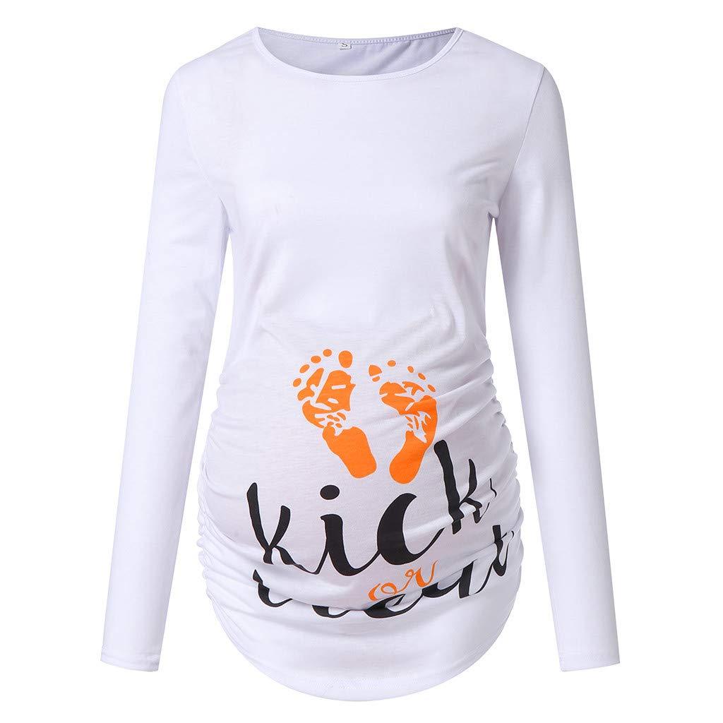 FIRSS Frauen Umstandsshirt,Rundhals Drucken Umstandsmode Kleidung Umstandstop Mutterschaft T-Shirt Casual Langarm Pullover