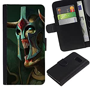 Be-Star la tarjeta de Crédito Slots PU Funda de cuero Monedero caso cubierta de piel Para Samsung Galaxy S6 ( Monster Alien Warrior Art Mask Blue Eyes )