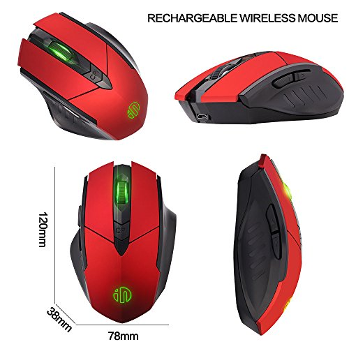 Wireless Mouse, inphic Rechargeable Gaming Mouse with USB Nano Receiver for Notebook, PC, Laptop, Computer, Macbook (Red plating) Photo #2
