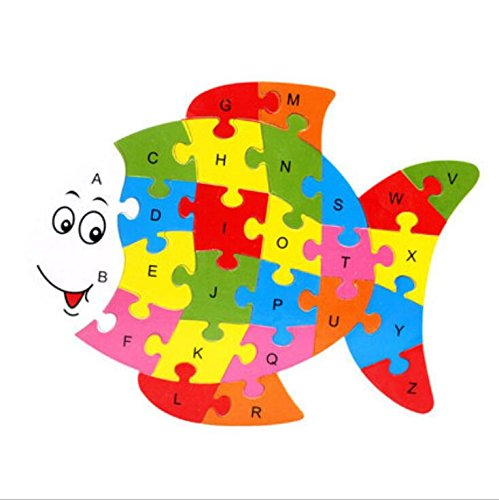 Tuersuer Ideal Gift Colorful Wooden Animal Number and Alphabet Jigsaw Puzzle Educational Toy for Kids(Fish) by Tuersuer