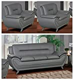 U.S. Livings Anya Modern Living Room Polyurethane Leather Sofa Set (Sofa and Two Chair, Grey)