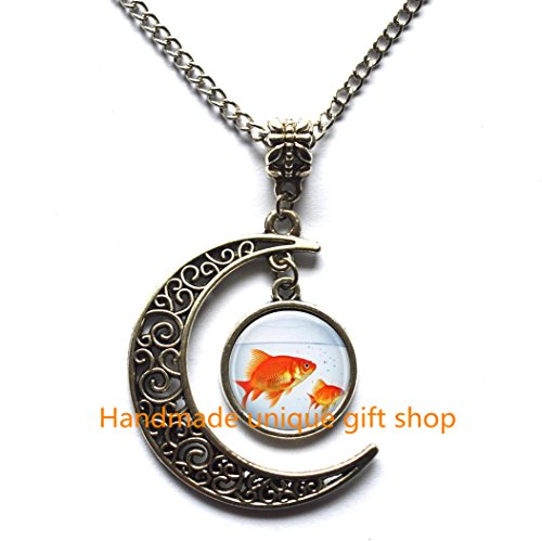 Modern Crescent Moon Necklace,Moon Necklace,Fish Necklace, Goldfish Bowl, Fish Jewelry, Fish Tank, Aquarium, Fish Bowl Art Pendant in Bronze or Silver with Link Chain Included ()