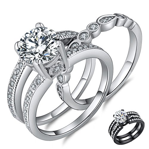 MABELLA 2.7 Carats Round Cut White Cubic Zirconia 925 Sterling Silver Alternative Engagement Wedding Ring two-piece Set Size 5-10