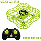 Drone for Kids Mini Safe RC Quadcopter with CF Headless Mode, Full Protection, 360 3D Flip, 4 CH 6 axis GYRO, Nano Helicopter FQ777 FQ03 CKCRC RTF Ideal Gift For Beginner Children - Green (green)