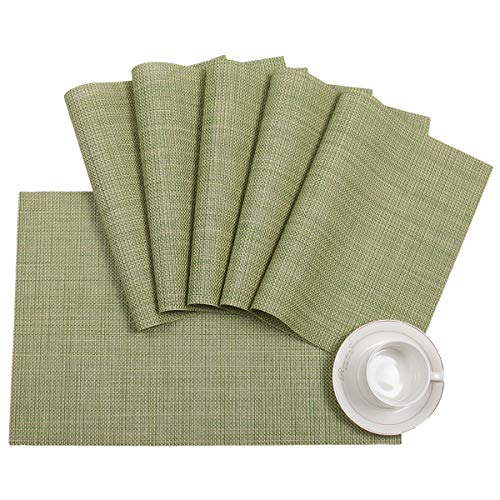 Pauwer Placemats Set of 6 for Dining Table Washable Woven Vinyl Placemat Non-Slip Heat Resistant Kitchen Table Mats Easy to Clean