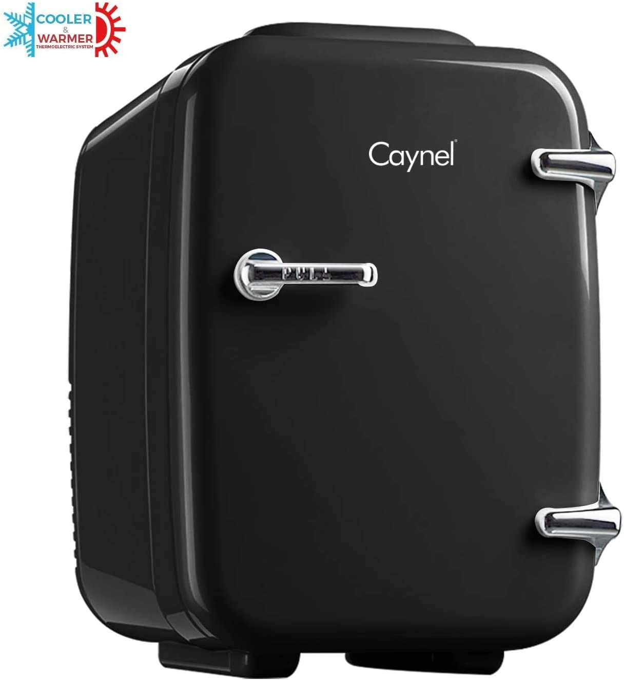 CAYNEL Mini Fridge Cooler and Warmer, (4Liter / 6Can) Portable Compact Personal Fridge, AC/DC Thermoelectric System, 100% Freon-Free Eco Friendly for Home, Office and Car (Black)