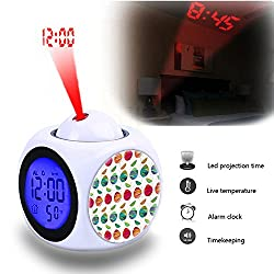 Projection Alarm Clock Wake Up Bedroom with Data and Temperature Display Talking Function, LED Wall/Ceiling Projection,Customize the pattern-807.Vintage Teacup With Roses Watercolor Roses
