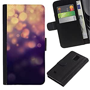 Billetera de Cuero Caso Titular de la tarjeta Carcasa Funda para Samsung Galaxy Note 4 SM-N910 / Lights Blue Bling Glitter / STRONG