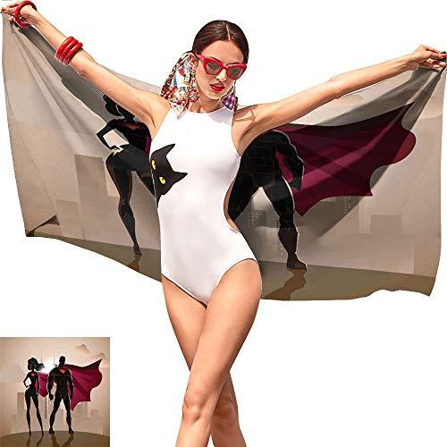 Jaydevn Superhero Novelty Beach Towel,Super Woman and Man Heroes in City Solving Crime Hot Couple in Costume Beige Brown Magenta,Beach Chair Towel W19 x L39 -