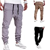 Calsky Men's Outdoor Casual Running Jogger Bottom Pants Trousers (X-Large, Grey)