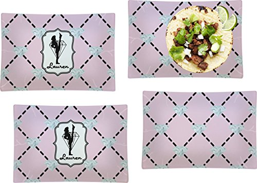 Diamond Dancers Set of 4 Rectangular Dinner Plates (Personalized) by RNK Shops